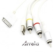 Arrela-White-Composite-AV-Video-to-TV-RCA-Cable-USB-Charger-For-iPad-iPod-Touch-iPhone-0-1