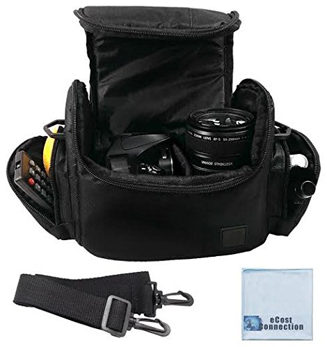 Large-Digital-Camera-Video-Padded-Carrying-Bag-Case-for-Nikon-Sony-Pentax-Olympus-Panasonic-Samsung-Canon-EOS-M-SL1-T1I-T3-T4I-T5I-XT-XTi-T5-Cameras-Many-More-eCost-Microfiber-Cloth-0