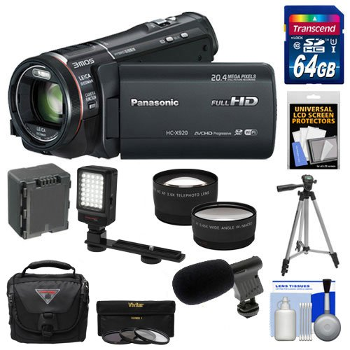 Panasonic-HC-X920-3MOS-Ultrafine-Full-HD-Wi-Fi-Video-Camera-Camcorder-Black-with-64GB-Card-Battery-Case-LED-Video-Light-Microphone-3-UVFLDCPL-Filters-Tripod-Telephoto-Wide-Angle-Lenses-Accessory-Kit-0