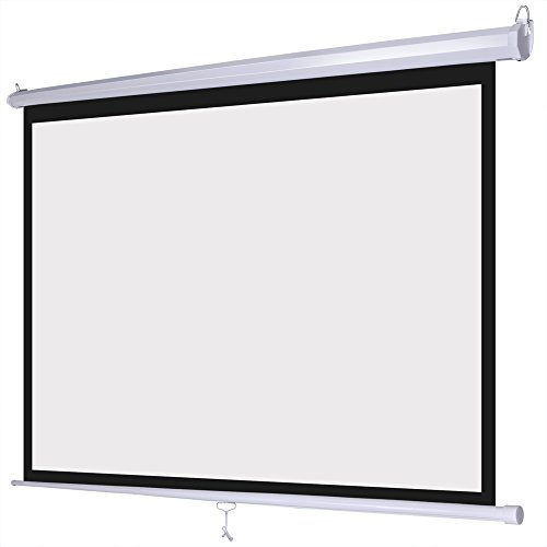 72 inch hd 4 3 manual pull down projector screen for Motorized retractable projector screen