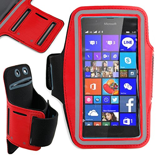 DURAGADGET-Exclusive-Unisex-Sports-Armband-in-Red-Running-Cycling-Gym-Smartphone-Case-for-The-NEW-Microsoft-Lumia-540-2015-Release-0