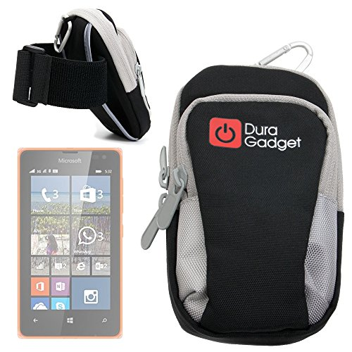 DURAGADGET-High-Quality-Exclusive-Black-Nylon-Sports-Armband-Case-Running-Cycling-Gym-Smartphone-Case-Holder-for-NEW-Microsoft-Lumia-532-435-0