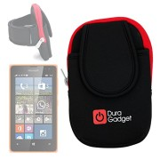 DURAGADGET-High-Quality-Exclusive-Black-Red-Neoprene-Sports-Armband-Case-Running-Cycling-Gym-Smartphone-Case-Holder-for-NEW-Microsoft-Lumia-532-435-0