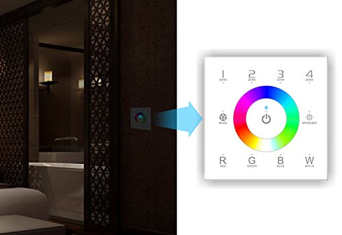 ledenet dx8 rgbw wireless 2 4ghz dmx512 touch panel rf dimmer controller wall mounted 4 zones. Black Bedroom Furniture Sets. Home Design Ideas