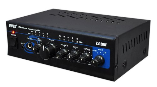 Pyle-Home-PTA4-Mini-2×120-Watt-Stereo-Power-Amplifier-with-AUXCD-Input-0
