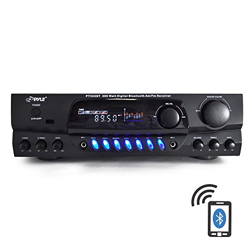Pyle-PT265BT-Bluetooth-200-Watt-Digital-Receiver-Amplifier-for-Karaoke-Mixing-with-Two-Microphone-Inputs-and-Four-Speaker-Outputs-0-0