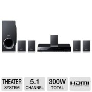 Sony-300-Watt-51-Channel-DVD-Home-Theater-Surround-Sound-Entertainment-System-With-DVD-Player-USB-HDMI-FM-Tuner-Plus-Sony-6Ft-High-Speed-HDMI-Cable-0