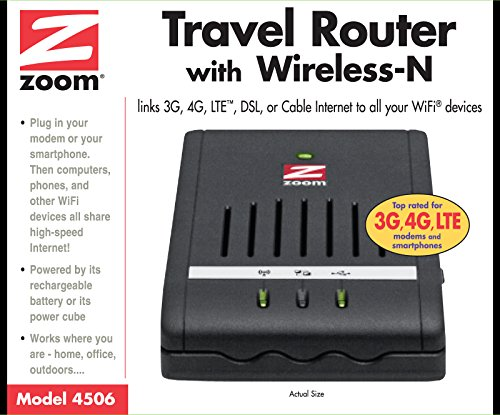 Zoom Model 4506a Battery Powered Travel Router With