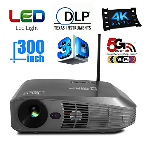 Aodin android smart dlp projector portable android 4 4 for Best portable smart projector