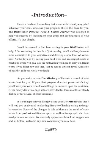 DIETMINDER Personal Food Fitness Journal A Food and Exercise