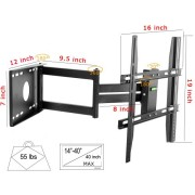Lumsing-Universal-Corner-TV-Wall-Mount-Bracket-with-Full-Motion-Swing-OutExtendable-Tilting-Swivel-Articulating-Arm-for-14-40-LED-LCD-Plasma-TVs-and-flat-panel-displays-such-as-Dynex-Dell-Olevia-synta-0-3