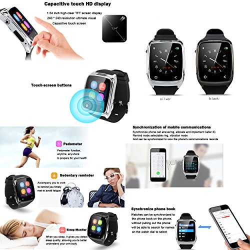 Neelam-I8-Bluetooth-3040-Smart-Watch-WristWatch-Phone-Mate-with-Music-ControlsCamera-ControlsActivity-Tracker-for-Smartphone-AndroidIOS-Apple-iPhone-4s55c5s66plus-Silver-0-2