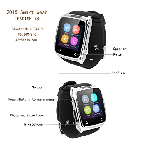Neelam-I8-Bluetooth-3040-Smart-Watch-WristWatch-Phone-Mate-with-Music-ControlsCamera-ControlsActivity-Tracker-for-Smartphone-AndroidIOS-Apple-iPhone-4s55c5s66plus-Silver-0-3