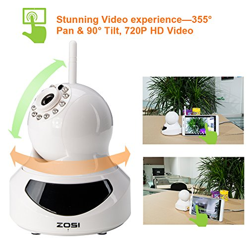ZOSI 720P HD Wi-Fi Wireless Network Video Monitoring Security IP Camera  system QR Code Scan Smartphone Easy SetupTwo-way Audio 30ft Night Vision  Free