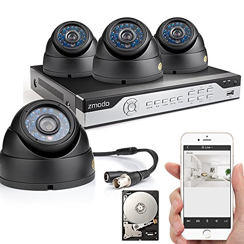 Zmodo 4CH 960H DVR 4x600TVL Home CCTV Video Day Night