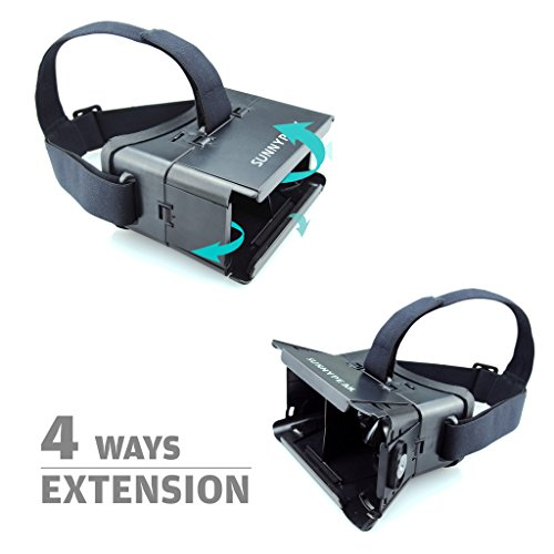 SUNNYPEAK-Plastic-Google-Cardboard-3D-VR-Virtual-Reality-Glasses-with-Adjustable-Focal-Distance-Pupil-Distance-for-iPhone-Samsung-Nexus-HTC-Moto-LG-Mobile-Smartphone-with-QR-Code-Blackwith-Magnet-0-3