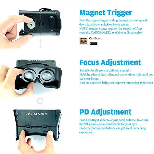SUNNYPEAK-Plastic-Google-Cardboard-3D-VR-Virtual-Reality-Glasses-with-Adjustable-Focal-Distance-Pupil-Distance-for-iPhone-Samsung-Nexus-HTC-Moto-LG-Mobile-Smartphone-with-QR-Code-Blackwith-Magnet-0-4