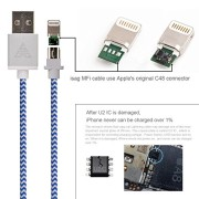 Apple-MFi-certified-iasg-cotton-braided-lightning-cable-with-reversible-USB-for-iPhone5s-6-6s-6-plus-iPad-Pro-Air2-Air-mini4-2-iPod-touch-5th-generationiPod-nano-7th-gen-33feet1meter-white-and-blue-0-2