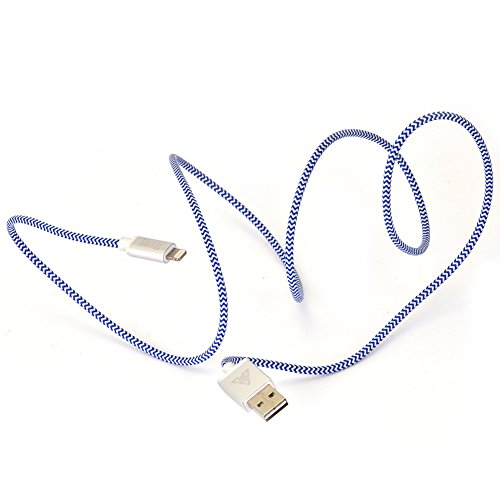 Apple-MFi-certified-iasg-cotton-braided-lightning-cable-with-reversible-USB-for-iPhone5s-6-6s-6-plus-iPad-Pro-Air2-Air-mini4-2-iPod-touch-5th-generationiPod-nano-7th-gen-33feet1meter-white-and-blue-0-5