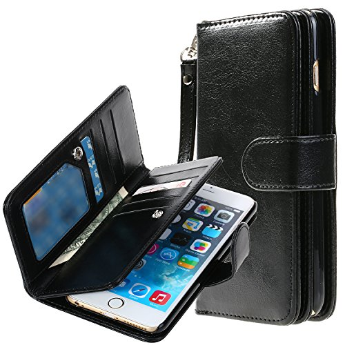 on sale cecd9 b3387 iPhone 6S Plus case , E LV iPhone 6S Plus Wallet Case with Hand Strap and  STAND - Flip Cover and Credit Card ID and Cash Holders for iPhone 6S Plus /  ...